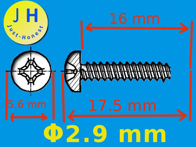 x Schrauben 2.9mm x 16mm  Universal #A1698 20 Stk