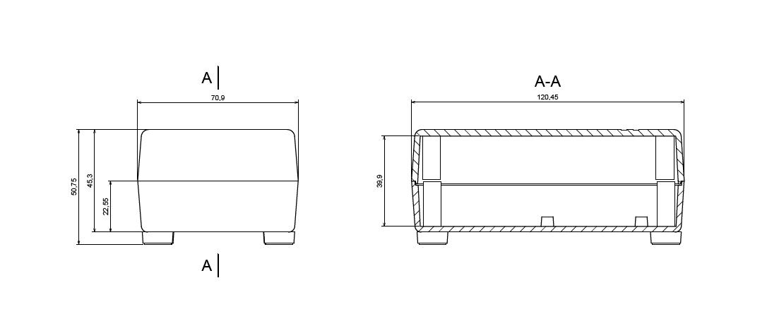 Kunststoff Gehäuse Schwarz 4 Beinchen 121x71x45mm Plastic Enclosure #A1713