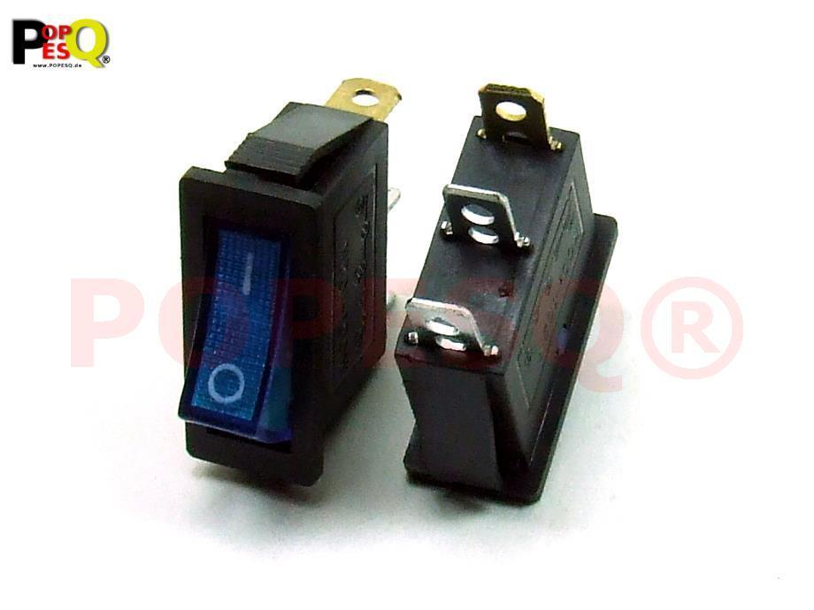 Schalter mit Beleuchtung 30mm x 25mm 15A 250V Schwarz Rot Kunststoff #A1399