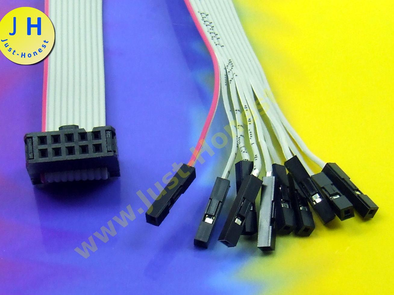 IDC Kabel DUPONT Weiblich 10 polig 30cm Flachbandkabel 2.54mm Verbinder #A2561